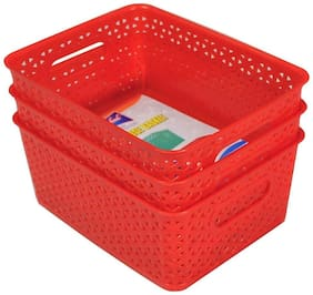 Multi Storage Basket Red 3 pcs Set