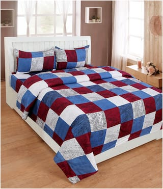 Multicolor Cotton Checks Double Bedsheet With Pillow Cover