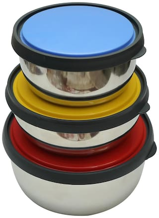 Multicolored LID Stainless Steel Storage Bowl Set of 3 (12/14/16 cm)