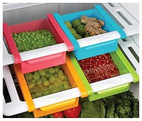 Multifuction Plastic Kitchen Refrigerator Storage Rack Plastic Home Fridge Shelf tray(Assorted Colors)1 pc