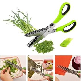 Multifunction 5 Blade Vegetable Chopper Paper Shredder cutting stainless Steel Herbs Scissor with Blade Comb and Cleaning Comb Scissor(Multicolour)