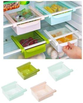 Multipurpose Fridge Storage Tray Plastic Fridge Container, Utility Box Plastic Kitchen Rack (4Pc) Assorted Color