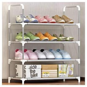 Multipurpose Portable Folding Shoe Racks for Home Organizers with Water-Resistant Metal Collapsible Shoe Stand (Grey;4 Shelves)