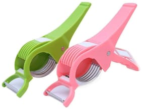QROMOS Plastic & Stainless steel Vegetable tool Red & Pink ( Set of 2 )