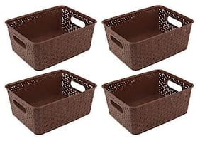 Multipurpose Baskets for Storage Set of 4 pcs,Brown,Medium