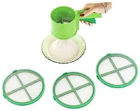 Multipurpose Kitchen Flour Sifter Strainer, Colander Sieve, Flour Strainer with 3 Extended Nets (Green)