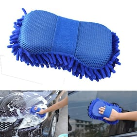 Multipurpose Car Wash Sponge and Dry Cleaning Sponge High Performance Cleaning Sponge Glove (Pack of 1) Assorted Color