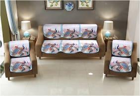 Multitex Printed Velvet Sofa Covers for Living Room (Multicolor;Pack of 6)