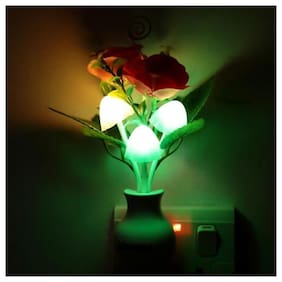 Mushroom Auto ON/Off LED Sensor Color Changing Multi Color Bed Light Flower Night Lamp Wall Light