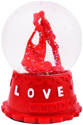 Musical Love Couple Showpiece with Crystal Glass Lobe;Red Color;Polyresin Material;SIZE;1 pc Set