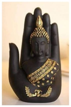Must Have Attractive Polyresine Handcrafted Palm Buddha Showpiece ( Assorted Color )