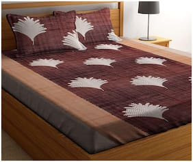 N G PRODUCTS Cotton Floral Double Size Bedsheet 180 TC ( 1 Bedsheet With 2 Pillow Covers , Brown )