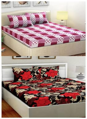N G PRODUCTS Cotton Checkered Double Size Bedsheet Combo 120 ( 2 Bedsheet With 4 Pillow Covers , Multi )