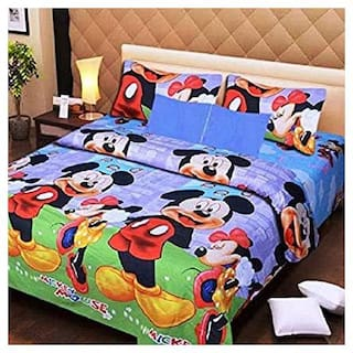N G PRODUCTS Cotton Printed Double Size Bedsheet 120 TC ( 1 Bedsheet With 2 Pillow Covers , Multi )