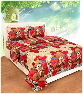 N G PRODUCTS Microfiber Printed Double Size Bedsheet 150 TC ( 1 Bedsheet With 2 Pillow Covers , Multi )