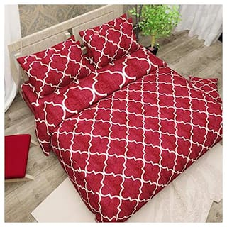 N G PRODUCTS Cotton Striped Double Size Bedsheet 180 TC ( 1 Bedsheet With 2 Pillow Covers , Maroon )