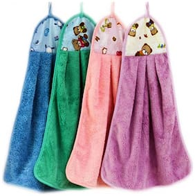 N G PRODUCTS 300 GSM Microfiber Hand Towel ( 4 Pieces , Multi )