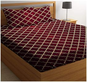 N G PRODUCTS Cotton Printed Double Size Bedsheet 180 TC ( 1 Bedsheet With 2 Pillow Covers , Maroon )
