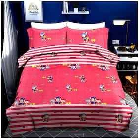 N G PRODUCTS Cotton Printed Double Size Bedsheet 180 TC ( 1 Bedsheet With 2 Pillow Covers , Pink )