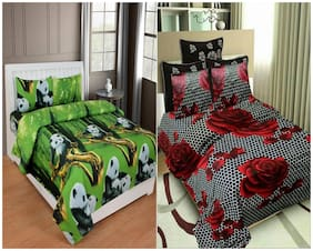 N G PRODUCTS Cotton Floral Double Size Bedsheet Combo 120 ( 2 Bedsheet With 4 Pillow Covers , Multi )