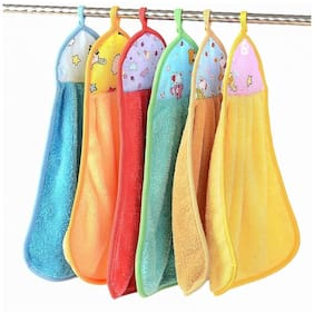 N G PRODUCTS 300 GSM Microfiber Hand Towel ( 6 Pieces , Multi )
