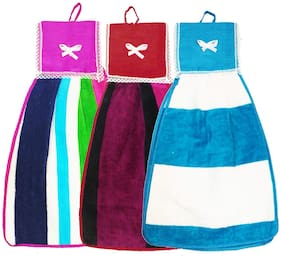 N G PRODUCTS 300 GSM Cotton Hand Towel ( 3 Pieces , Multi )