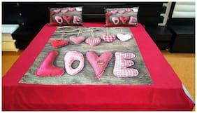 N G PRODUCTS Velvet Printed King Size Bedsheet 300 TC ( 1 Bedsheet With 2 Pillow Covers , Multi )