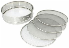 Naeva Prime Quality Steel Folding Chalni With 4 In 1 Stainless Steel Atta Chalni With 4 Nets;Silver;Kitchenware 10 Number