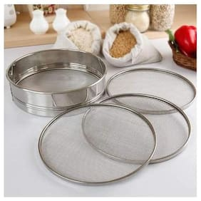 Naeva Prime Quality Steel Folding Chalni With 4 In 1 Stainless Steel Atta Chalni With 4 Nets;Silver;Kitchenware;9 Number Size