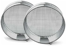 Naeva Stainless Steel Chalni (Sieves) Atta/Maida Set Of 2 No.8 And 9