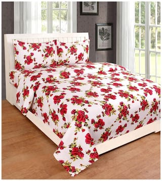 Nanki's Cotton Abstract Double Size Bedsheet ( 1 Bedsheet With 2 Pillow Covers , White )