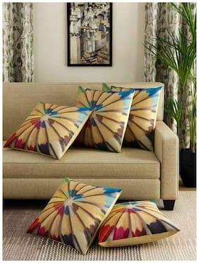 Nanki's Printed Jute Beige Cushion Cover ( Large , Pack of 5 )