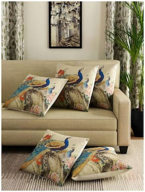 Nanki's Printed Jute Beige Cushion Cover ( Regular , Pack of 5 )