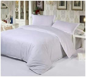 Nanki's Cotton Solid Double Size Bedsheet 300 TC ( 1 Bedsheet With 2 Pillow Covers , White )