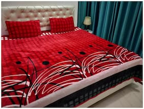 Nanki's Velvet Floral Double Size Bedsheet 250 TC ( 1 Bedsheet With 2 Pillow Covers , Red )