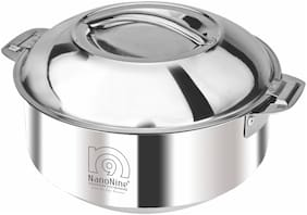 NanoNine Hot Chef Stainless Steel Serving Pot / Casserole with Plain Steel Lid, 900 ml,Silver
