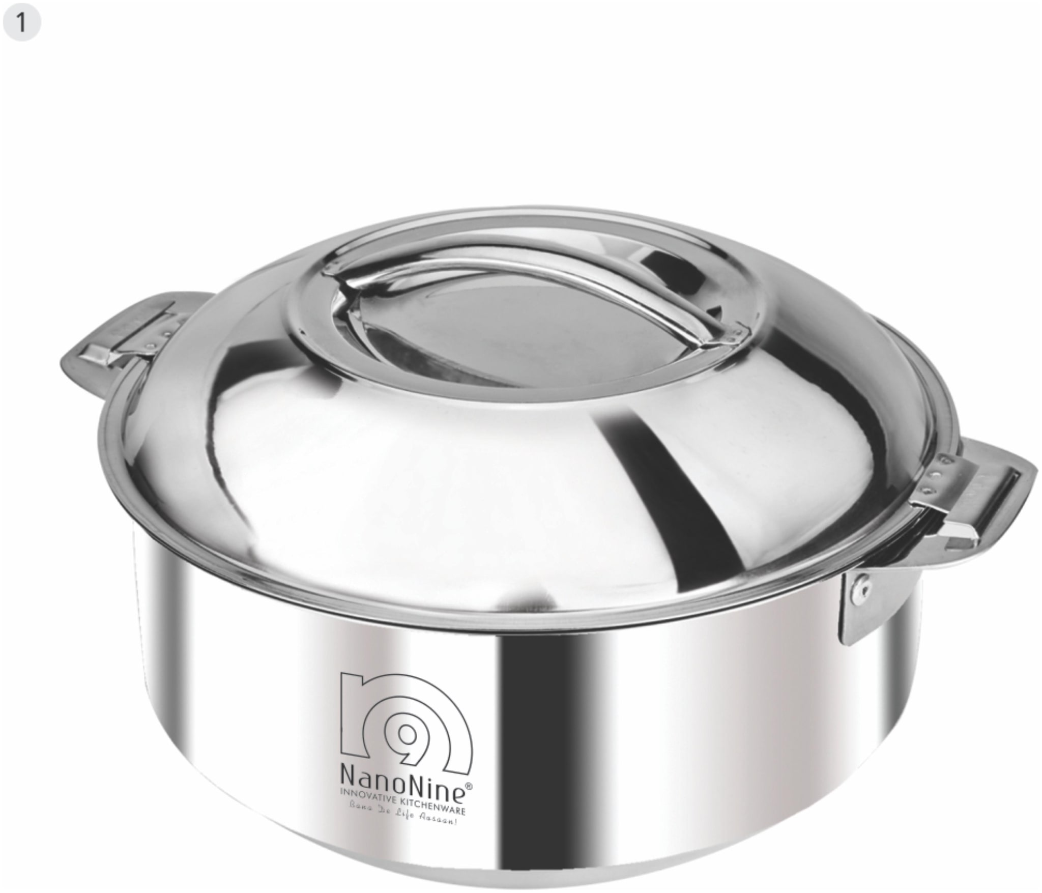 NanoNine Hot Chef Double Wall Insulated Hot Pot Stainless Steel Casserole with Steel Lid, 1.9 L, 1 pc by Smart Kitchen