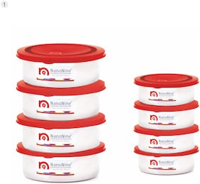 NanoNine Kitchen Fresh Stainless Steel Storage Containers, Set of 8, Red