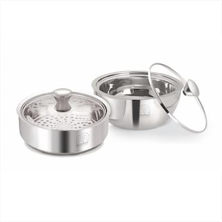 NanoNine Meal Serve Combo Stainless Steel Insulated Serving Gift Set with Glass Lid 800 ml 900 ml Silver