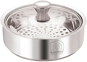 NanoNine Roti Saver Stainless Steel Chapati Pot With Glass Lid, Mini, 800 ml, Silver