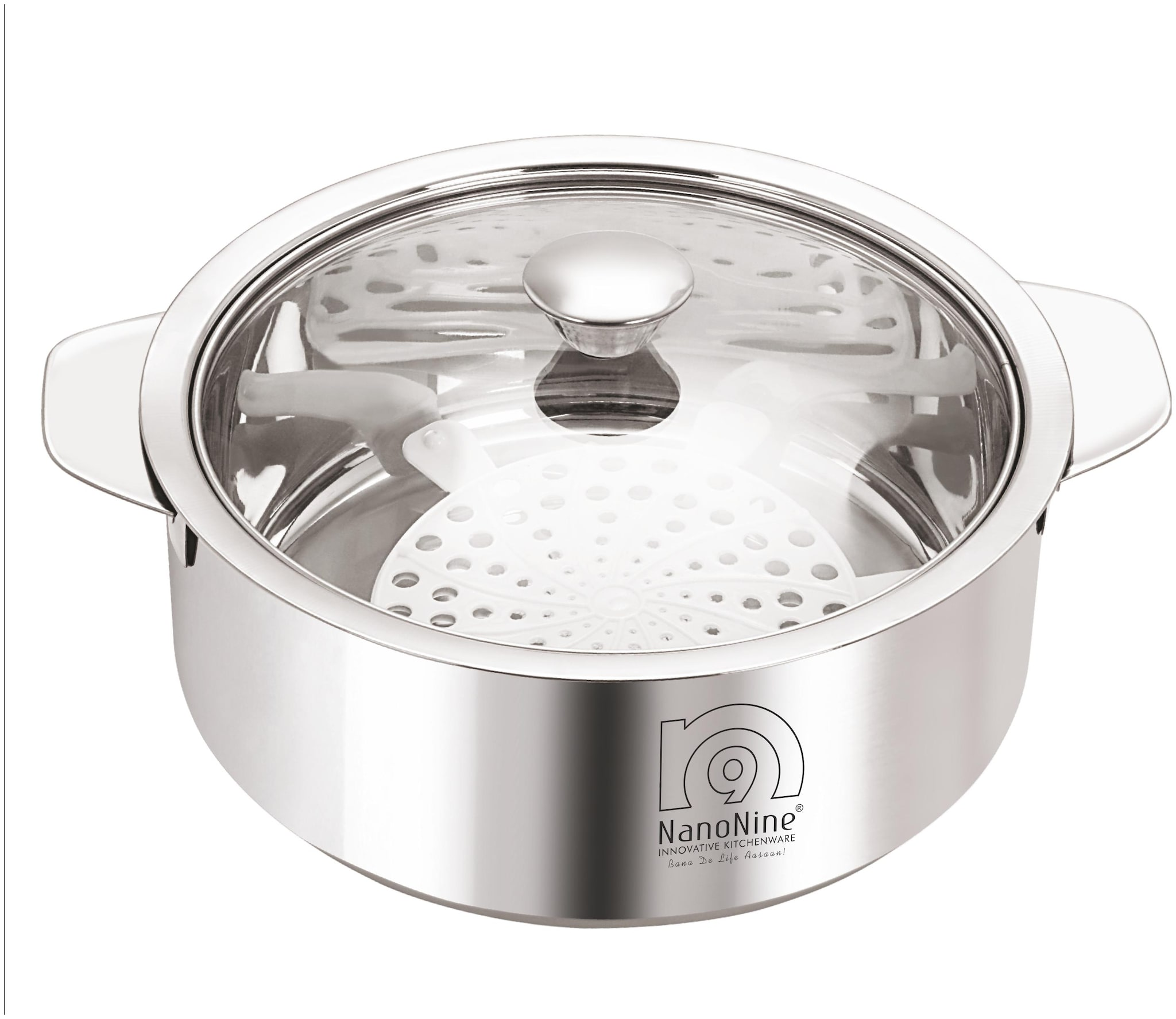 NanoNine Roti Saver Stainless Steel Chapati Pot With Glass Lid, Medium, 2550 ml, Silver by Smart Kitchen