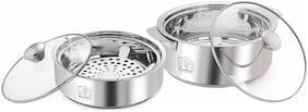 NanoNine Roti Saver Stainless Steel Casseroles Chapati Pot With Glass Lid Mini-Medium 800 ml 2550 ml Silver