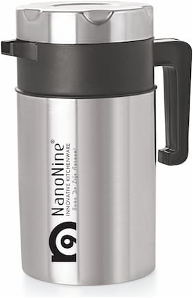 NanoNine T-Pot Double Wall Stainless Steel Tea Serving Pot 1250 ml Silver-Black