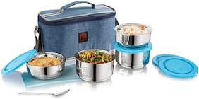 NanoNine Tiffiny Executive Insulated Double Wall Stainless Steel Lunch Box with Bag; 1100 ml; 4 pcs (2 x 325 ml + 2 x 225 ml); Denim Blue