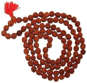 Natural 5 Mukhi Rudraksha Mala;With Certificate 108+1 Beads Beads