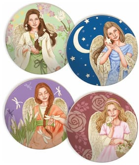 NATURE'S GRACE ANGEL COASTERS, Set of 4, Ceramic, by AngelStar 13425