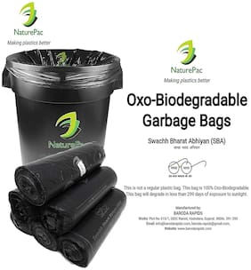 Naturepac Garbage Bags Biodegradable Premium Black Large Size 60 Cm X 81 Cm / 24x32 Inches, (45 Bags)