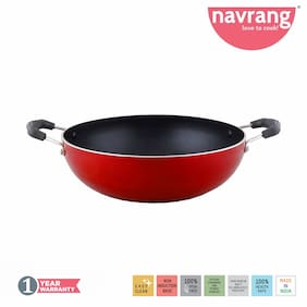 Navrang Non Stick Aluminium Kadai With Stainless steel Lid (Capacity - 1.75 L)
