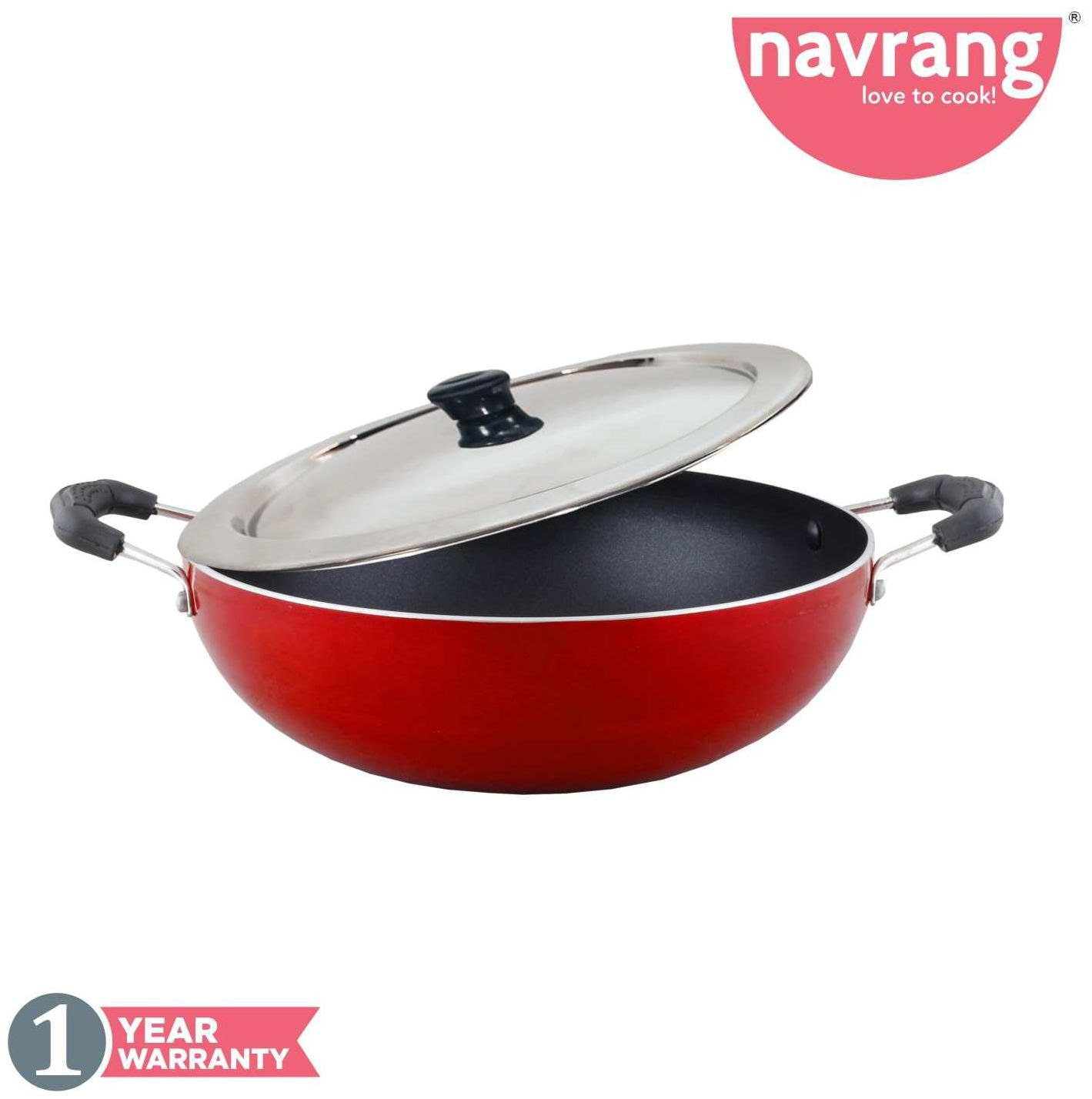 Navrang Non Stick Aluminium Kadai Economy Medium With Lid;230mm;Red