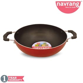Navrang Non Stick Aluminium Kadai Economy Small;200mm;Red